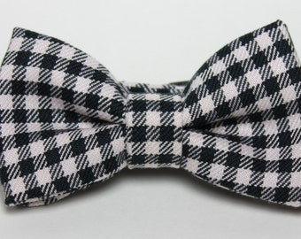 Black and White Gingham Checkered Boy's Bow Tie