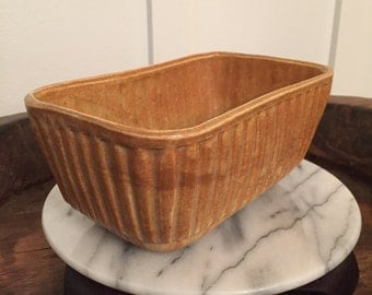 """Vintage Brush USA Pottery """"Luggage"""" Brown Camel Colored Planter"""