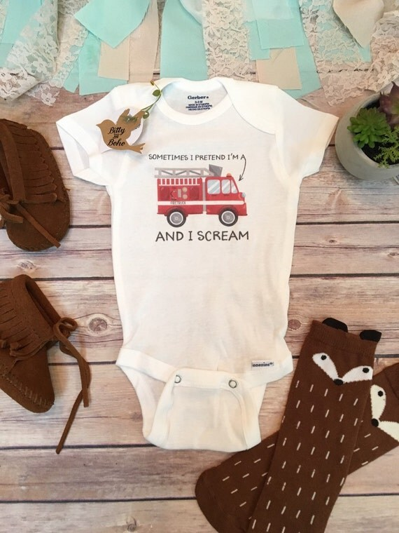 Firefighter esie Baby Boy Clothes Baby Shower by