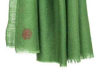 100% cashmere scarf - olive green (SHKD51)