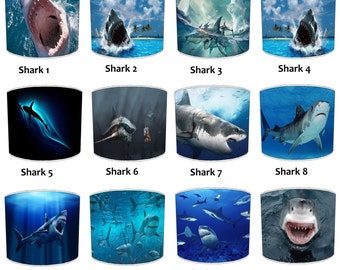 Great White Shark Print Lamp shades, To Fit Either a Table Lamp base or a Ceiling Light Fitting.