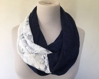 Infinity Scarf with Lace, Navy Blue