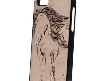5 wood iPhone case Unicorn