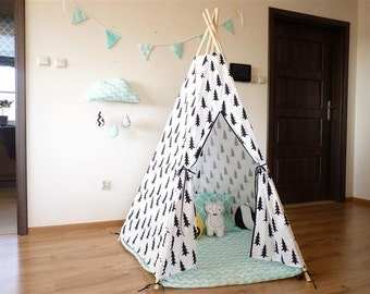 Tipi in black trees, Natural Canvas Plain Kids Teepee, Kids Play Tent, Childrens Play House, Tipi,Kids Room Decor, scandinavian decor