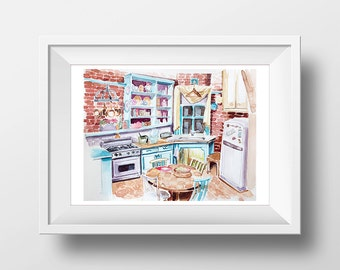 Wall Art Friends TV Show Monica's Apartment Kitchen Watercolor Print,90s Sitcom,Central Perk,Monica Chandler Ross Rachel Joey Phoebe,Print