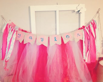 Hand Painted Swallow Tail Name Banner