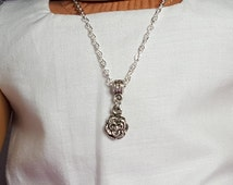 "18"" Girl Doll Rose Flower Necklace, -American Doll  One Size Metal Necklace, Alligator Clasp"
