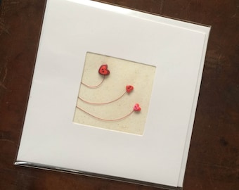 Blank Hand-Made Card - 'Wired Heart' - Greeting Card, Birthday Card