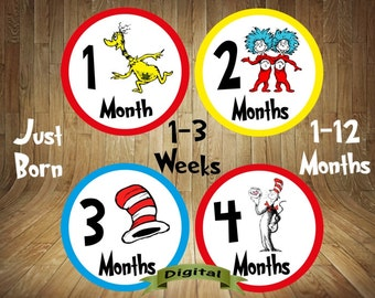 Dr. Seuss Monthly Stickers, Dr. Seuss Baby Stickers, Dr. Seuss Stickers, Dr. Seuss Bodysuit Stickers, Dr. Seuss Baby, Digital, You Print