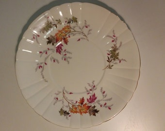 Striking Royal Grafton cake plate - autumn leaves - gold, fuschia, burnt orange