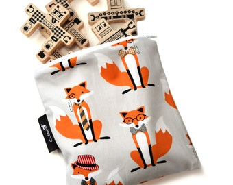Ready to ship - Reusable Snack Bag - Foxes with zipper
