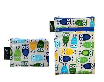 Ready to ship - Mini wet dry wet bag and matching Pocket Wet Bag with zipper and PUL liner great for cloth pads - owls