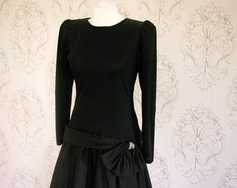 Vintage 1980s Drop Waist Black Long Sleeved Gothic Party Dress with Diamante Bow