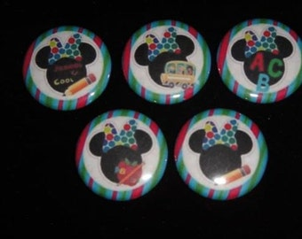 Back to School Minnie Mouse  Set of 15 Buttons