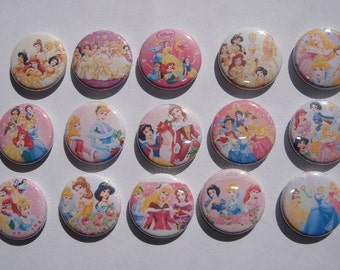 Disney Princess Group Shots Buttons Set of 15