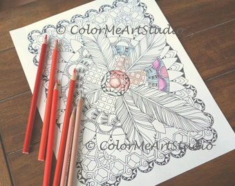 Feathers Coloring Page, Adult Coloring Page, Printable Download, Coloring, Relaxation, Stress Relief Coloring Page, Art Coloring Page