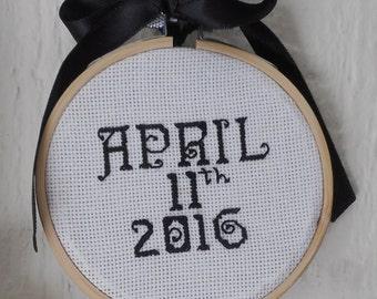 Date Cross Stitched in a Hoop|Personalized Wedding Date|Baby's Birth Date|Anniversary|Personalized Date Cross Stitched|Framed Date in a Hoop