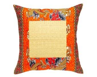 Orange Dragon Batik Cushion