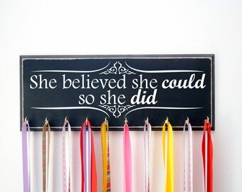 She Believed She Could So She Did Running Medal Holder, Perfect Gift for Runners, Medal Display, Medal Hanger, Athletic Medal Display