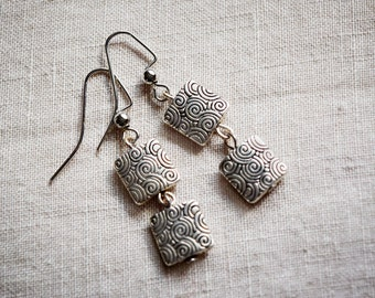 Square Metallic Beaded Dangle Earrings