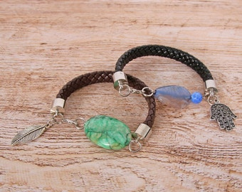 Green/Blue braided leather bracelet