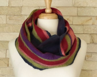 Felted Scarf - Red, Green, Blue, Pink, Purple Striped Felted Circle Scarf