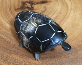 Horn turtle figurine // handmade with a single horn // collectible turtle // turtle statue // gift for women // turtle lover gift