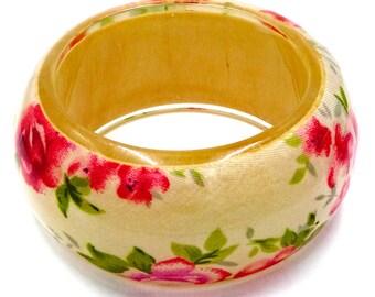 Wood Resin And Rose Fabric Bangle