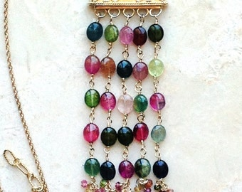 Multi Color Watermelon Tourmaline Bib Necklace