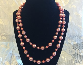 Pink Pearl Necklace, Glass Pearl Necklace, Vintage Rose Perals, Faux Pearl, June Birthstone