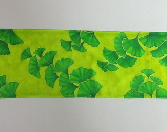 Lime green ginkgo scarf, Chartreuse silk scarf with ginkgo leaves