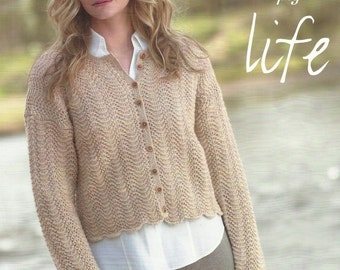 Ladies Cardigan pdf Knitting Pattern.