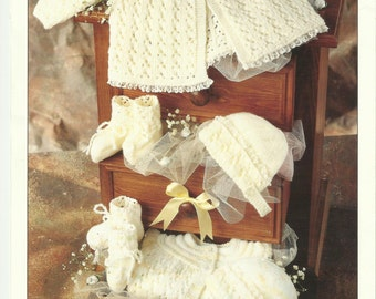 2 x Knitting Patterns Baby Coat,Bonnet and Bootees and Matinee coat,cardigan,bonnet,bootees,mittens and Shawl .