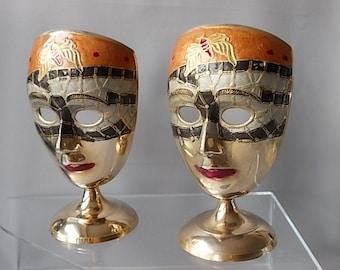 Female Brass Masks, Home and Living Ornaments, Colourful Masks, Oriental Decor Masks, Statement Masks, Stylish Interior Decor Vintage Masks