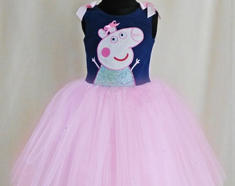 Exclusive Peppa Pig Dress Decorated By 500 Rhinestones, Peppa Pig Birthday Dress, Peppa Tutu Dress