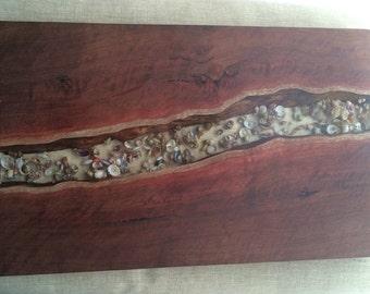 Sea shells and natural edge Jarrah serving board