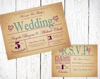 Vintage Purple Turquoise Wedding Invitation! Printable File!