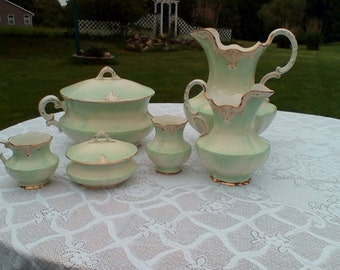 Mint Green and Gold Serving Set