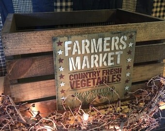 """Wood Numbered """"Farmer""""s Market"""" Crate"""