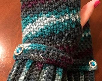 Multicolor Crocheted Fingerless Gloves