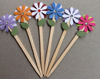 Girly Flower Cupcake Toppers (6 pieces)