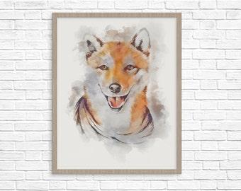 Fox Print fox wall art animal print fox poster nursery wall art fox painting nursery art watercolor fox fox printable watercolor fox print