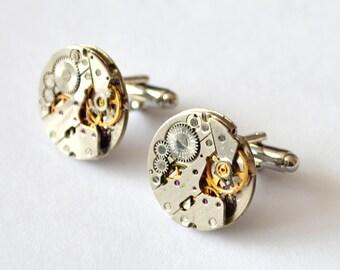 Steampunk Cufflinks/Watch Movement Cufflinks/Steampunk/Vintage/Wedding/Gift Mens/Retro Present Clockwork/Gift/ Cufflinks Gift for men