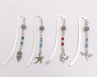 Bookmark, Owl Bookmark, Swarovski Crystal Bookmark, Pearl Bookmark,  Starfish Bookmark, Butterfly Bookmark, Dragonfly Bookmark, Gift