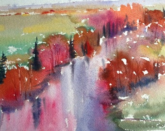 Along the River - original watercolor painting