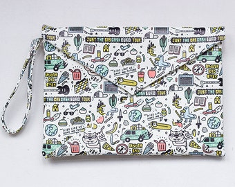 "Clutch Handbag / purse / Vegan Leather Clutch/ Print ""Funny"""