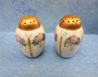 Bavarian Salt and Pepper Shakers with Gold Trim