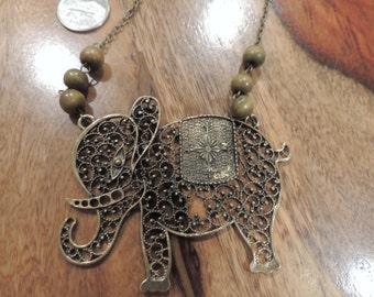 Elephant Vintage Style  Filigree Brass Necklace