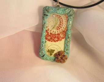 Altered Domino Pendant~ Pretty Tribe Of Flowers