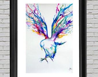 Watercolor Bird Poster Art Print 24x36, Wall Art, Nature Print, Home Wall Decor, Gift, Poster, Bright Colored Bird Art, Watercolor Art